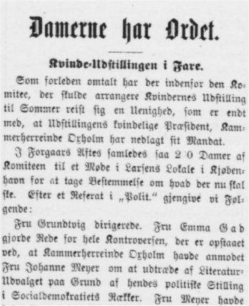 Kvindeudstillingen i fare.Aarhus Stiftstidende 13. januar 1895.