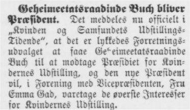 Geheimetatsraadsinde Buch bliver Præsident.Aarhus Stiftstidende 8. februar 1895
