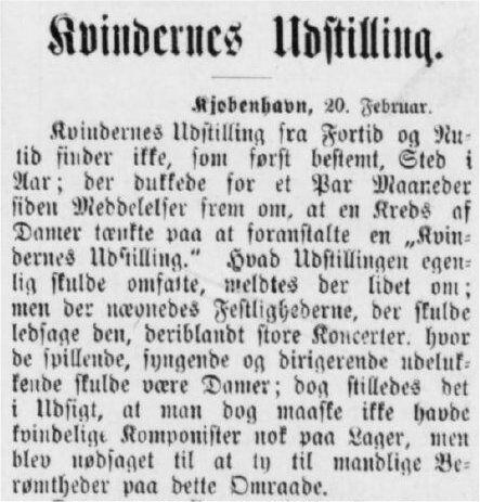 Kvindernes udstilling udsættes et aar. Thisted Amtstidende 20. feb. 1894.