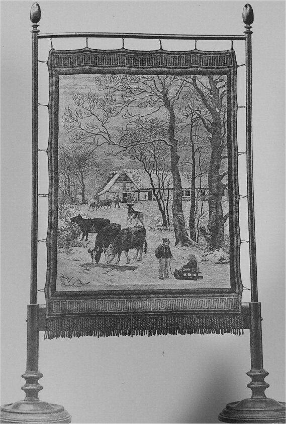 Broderet Skjærm udført af Fru G. Skovgaard til N.L. Hoyens Sølvbryllup efter Tegning af P. Skovgaard.