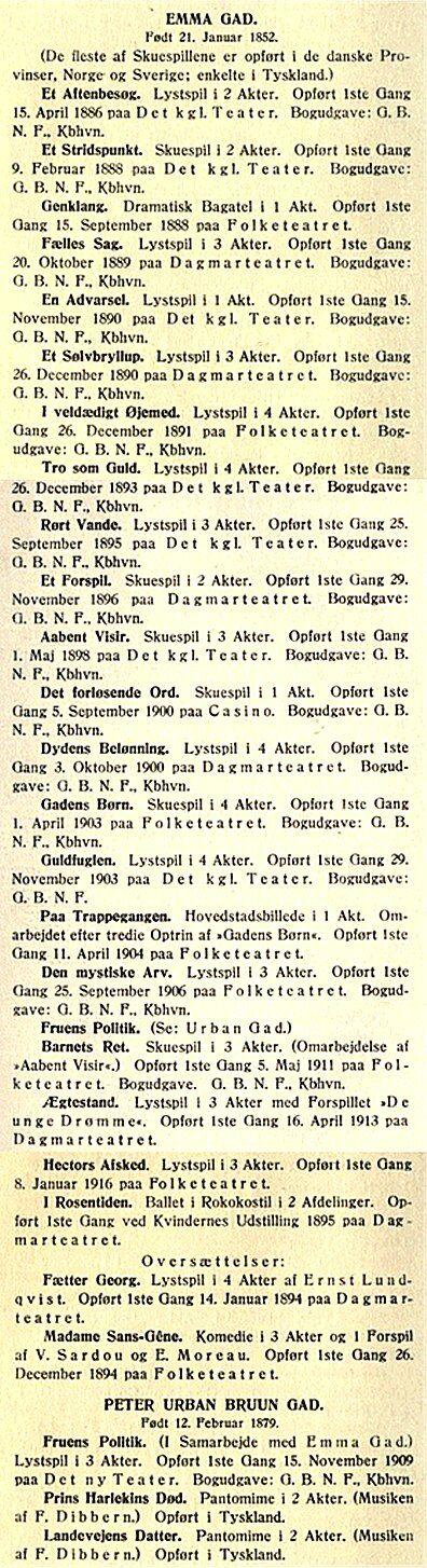 Fra kataloget over danske dramatikeres arbejder, ses her Emma Gads liste, der også indrager sønnen Urban Gad
