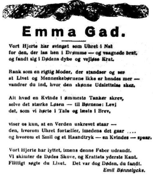 citat til sølvbryllupskort Nekrolog 1921   Emma Gad citat til sølvbryllupskort