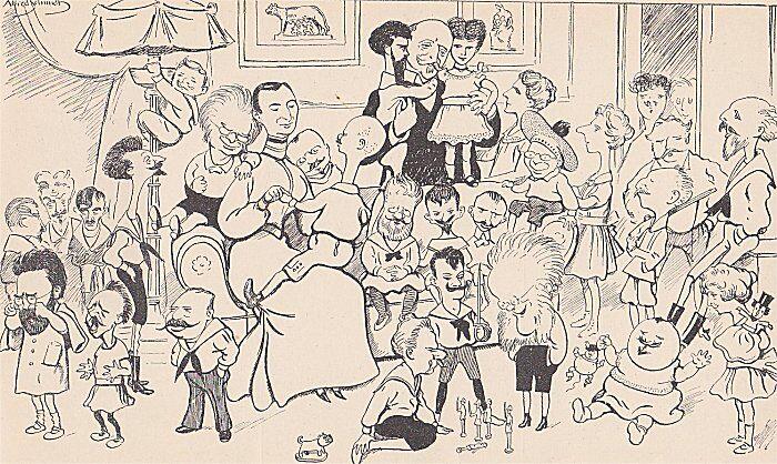 Tegning: Alfred Schmidt. Fra sammenslutningen af Gyldendalske Boghandel og Nordisk Forlag