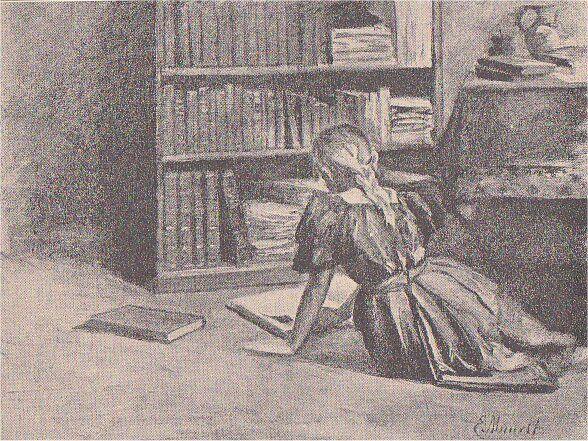 Tegning fra Kvindernes Udstillings Festskrift 1895.