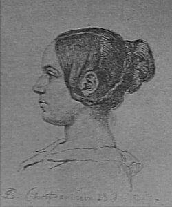Fig 159 - Fru Georgia Skovgaard efter en Tegning af hendes Mand.