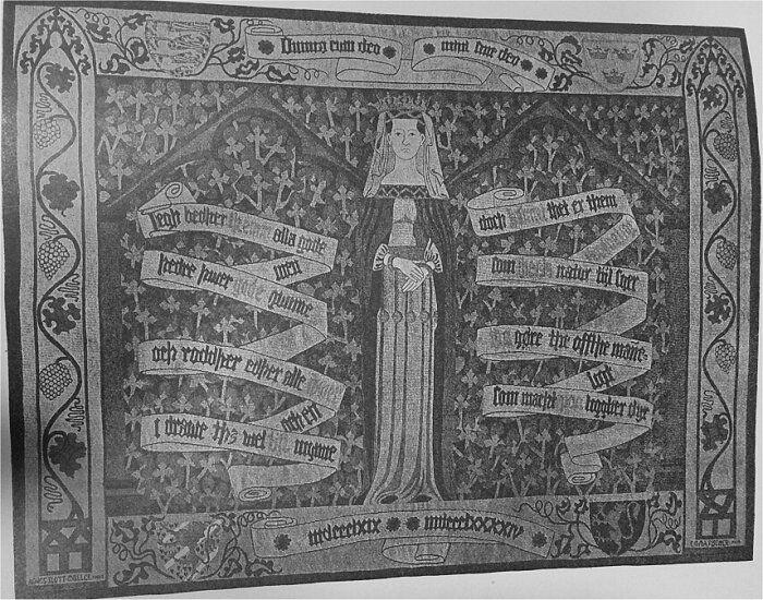 Vævet Tæppe. Gave til Hds. kgl. Højhed Kronprinsessen. Udført af Fru Emma Fischer efter Tegning af Fru Agnes Slott-Møller.