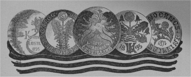 Fig. 154 - Fem Tallerkener fra den kongelige Porcellænsfabrik