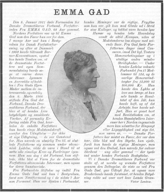 Emma Gad in memorandum Januar 1921