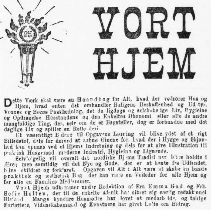Annonce for subskription på Vort Hjem i 1898. På denne måde fik man med faste intervaller hæfter der siden kunne blive indbundet.