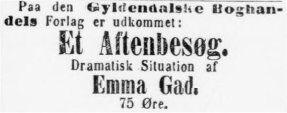 4. maj 1886 Berlingske politiske og Avertissement-Tidende. Efter den gode modtegelse blev der sat navn på ved bogudgiveksen.