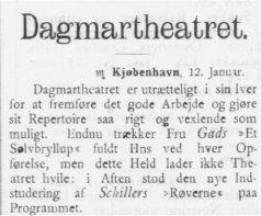 Emma Gads største dramatiske Sukces Jyllands Posten 14. januar 1891