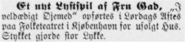 Notits fra Thisted Amts Tidende 28. december 1891
