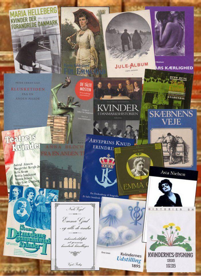 Nogle af de bøger der omhandler/inddrager Emma Gad