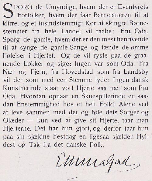 Emma Gads lykønskning til Oda Nielsen