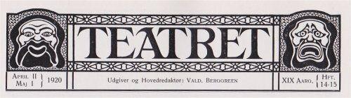 Teatret april-maj 1920 Oda Nielsens jubilæum