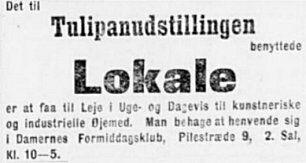 Nationaltidende 29. maj 1900. Udlejning af lokaler.
