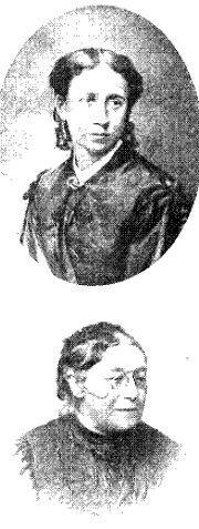 Øverst: Frk. Sophie Petersen Foreningens Stifterinde Nederst: Fru Charlotte Klein Foreningens første Formand