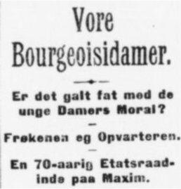 Aftenbladet, 11. april 1908, havde denne overskrift til samme artikel.