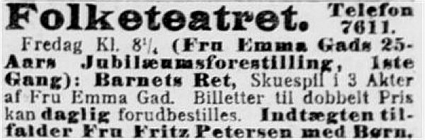 Berlingske, 2. maj 1911.